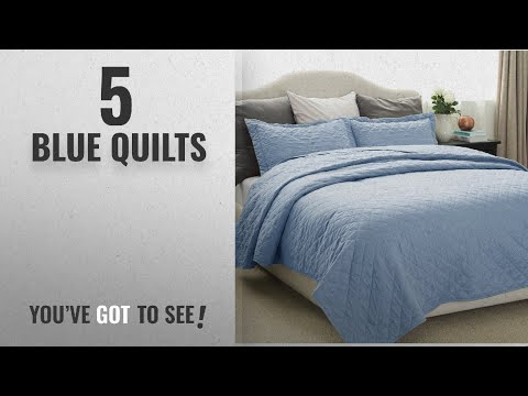 Top 10 Blue Quilts [2018]: Quilt Set Solid Grayish Blue Full/Queen Size(86