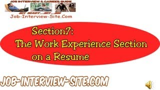 Resume Work Experience: Writing Effective Work Experience on your Resume