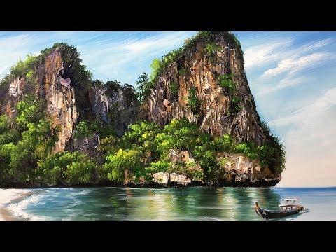 Beautiful  Rock Island Beach  Acrylic Painting