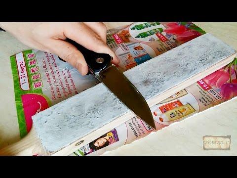 Нанесение белой пасты Dialux на доску (досточку) для правки ножей со спиртом
