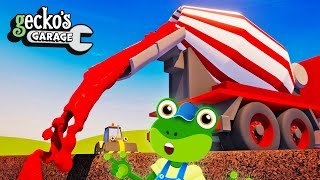 Learn Colors With Construction Trucks   Geckos Garage   Cement Mixers   Educational Video For Kids