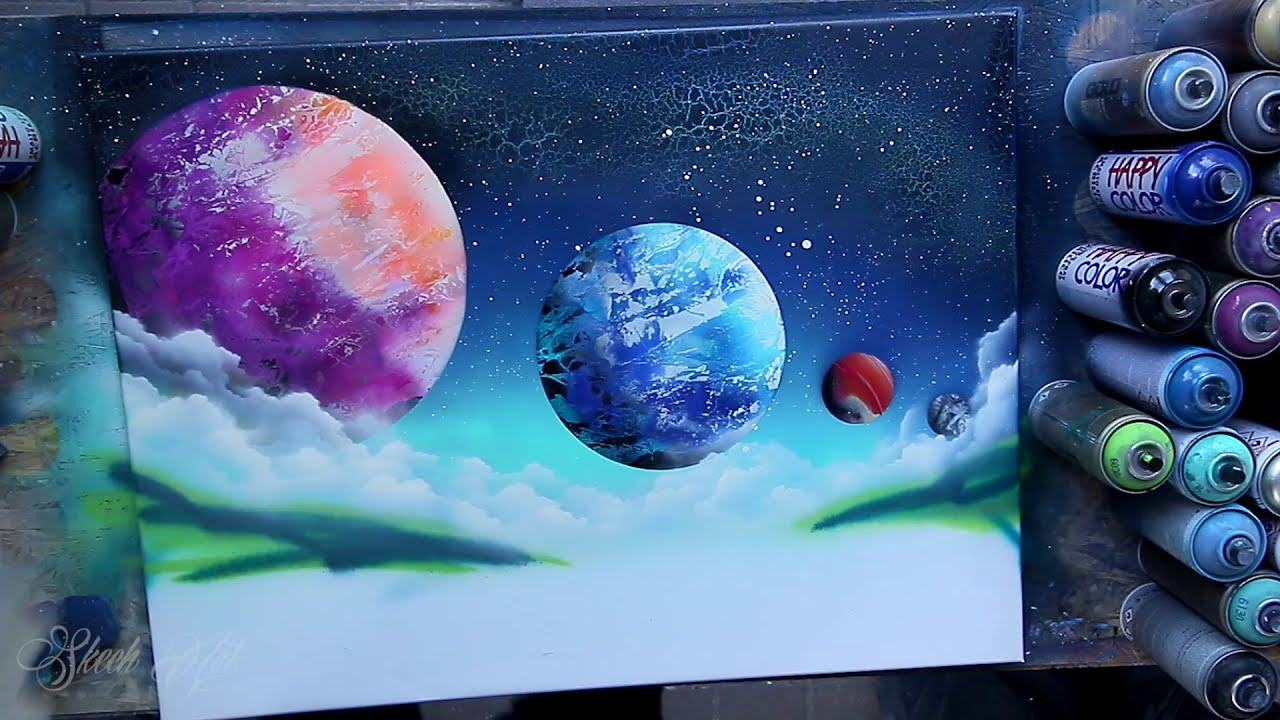 oasis in space surreal painting tutorial by skech art