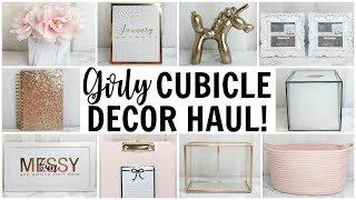Girly Cubicle & Office Decor Haul ♡ HomeGoods, TJ Maxx, Target & Hobby Lobby ♡ Pink, Gold & Marble