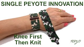 Easy peyote work with first align then knit technique, camouflage bracelet
