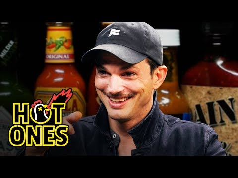 Ashton Kutcher Gets an Endorphin Rush While Eating Spicy Wings Hot Ones