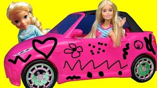 Elsa and Anna toddlers DRAW on Barbie's NEW Car! Does Barbie allow them? They draw cute things