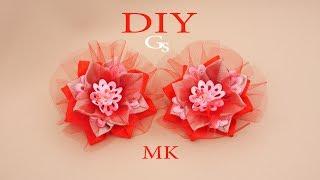 Яркий букет в одном цветке Канзаши. Новая резинка для волос. Рукоделие/DIY/Handmade