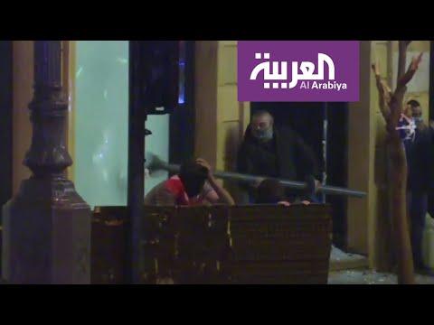 العرب اليوم - شاهد: تحطيم واجهات محال وسط العاصمة اللبنانية بيروت
