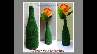 DIY Crafty | Flower Vase Using Rice | How To Decorate Empty Bottle