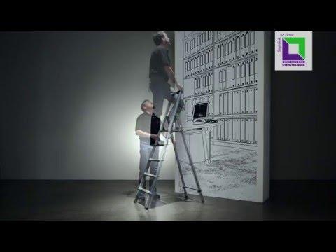 Günzburger Stufenstehleiter ML einseitig begehbar, eloxiert 3 Stufen-youtube_img