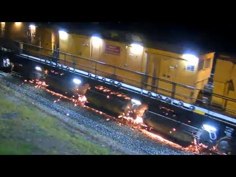 LORAM RAIL GRINDER ~ CLOSE-UP,  NIGHTTIME at Deshler, OH! 8/16/2019