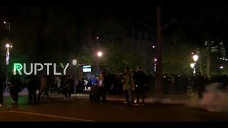 LIVE: Clashes at Place de Republique in Paris after first presidential runoff