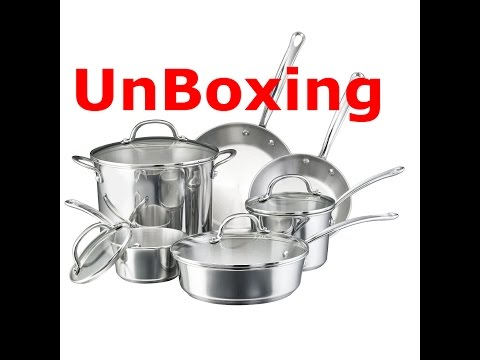 unboxing Farberware Millennium Stainless Steel Tulip Series 10-Piece Cookware Set