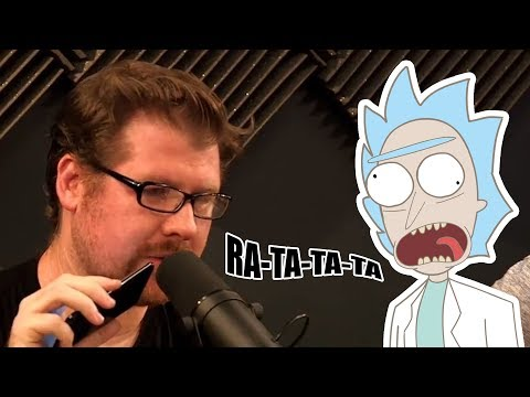 Animated skit of Justin Roiland as Rick prank calling Joel Osteen's church