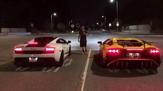 Lamborghini Aventador SV Vs Supercharged Gallardo LP570 Superleggera! Epic  Midnight Street Race!!!