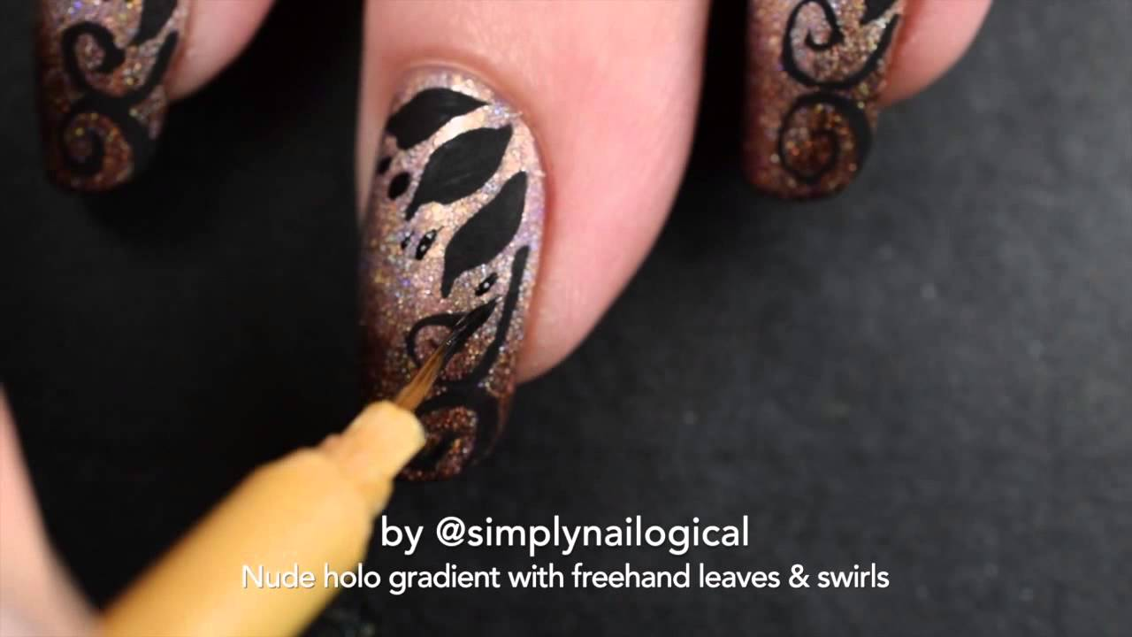 Nude holo gradient nail art with freehand leaves and swirls thumbnail