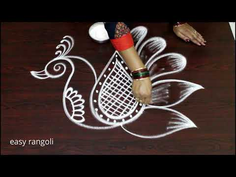 How To Draw Creative And Beautiful Peacock Rangoli Art Designs Kolam
