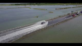 Mersea Island The Strood High Tide by drone car gets stuck (1.40)