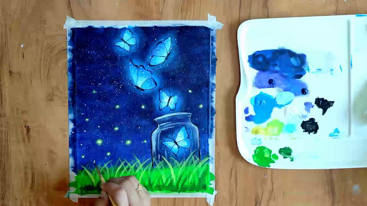 night scenary acrylic painting step by step tutorial by priya