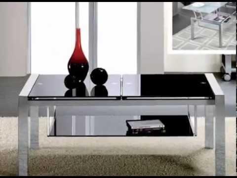 Mesas bajas elegantes de madera y cristal