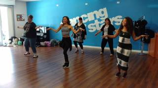 Moms get salsa dancing lessons from Dancing with the Stars cast in Los Angeles, CA! #DWTS