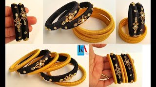 Making of multicolor Silk Thread Bangles / Easy and simple fancy side bangles / Kalpana Ambati 450