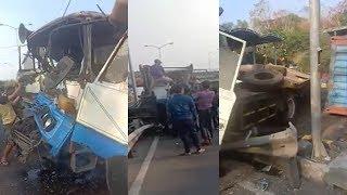 Diduga Rem Blong, Truk Kecelakaan di Pintu Loket Jembatan Suramadu