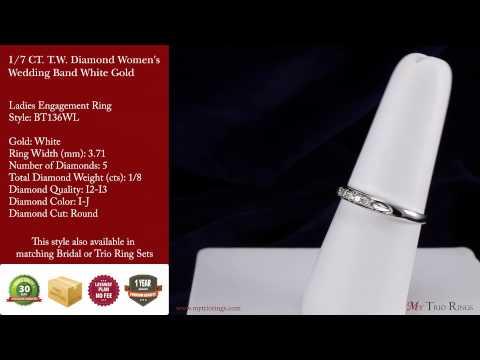 1/2 CT. T.W. Diamond 3 Ring Matching Wedding Set White Gold (BT136W)