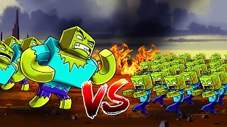 Minecraft | 100 ZOMBIES VS 10 MUTANT ZOMBIES! (Massive Mob Battles)