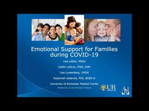 Screenshot of video: COVID 19-Webinar-Emotional Support for Families- Autism Research Institute