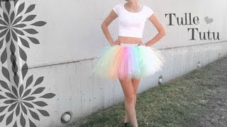 NO SEW TUTU - Tulle Skirt How To - Halloween Costume DIY   SoCraftastic