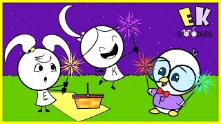 LEARN COLORS with RAINBOW FIREWORKS on 4th of July ! Emma & Kate meet Peck Educational