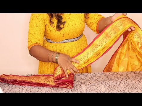 how to take small pleats in saree in tamil\saree folding technique\how to fold saree for travelling