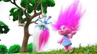 ТРОЛЛИ,  детское видео! Мультик из игрушек: #тролли ИГРУШКИ — Розочка и Алмазик - ищут Цветана!