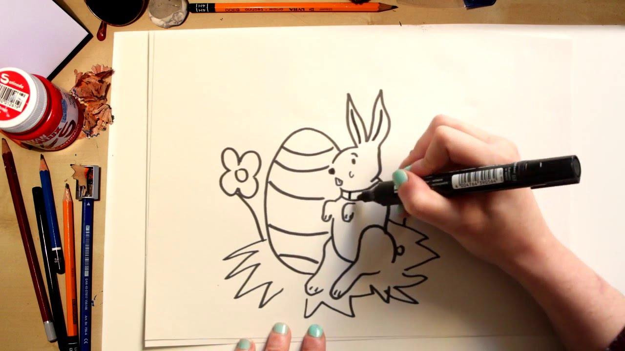 Como desenhar um Coelho de Páscoa - desenhos para crianças