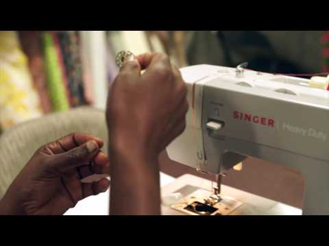 Threading the singer 4411 sewing machine, one of Singer's heavy duty but very user-friendly home sewing machines.
