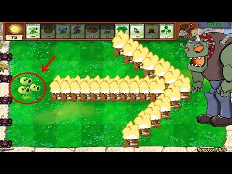 Plants Vs Zombies Hack - 1 Threepeater vs Gargantuar vs Giga-Gargantuar