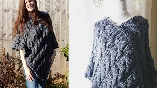 Cable Poncho Knitting Tutorial - Beginner