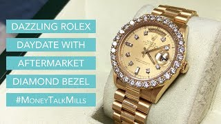 Dazzling Rolex DayDate With Aftermarket Diamond Bezel