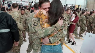 EMOTIONAL MILITARY WELCOME HOME AFTER 9 MONTH DEPLOYMENT