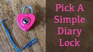 How to pick a simple diary lock