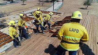 Los Angeles Fire Department Training At Manchester Square