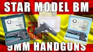 "Star Model BM SA 9mm Semi-Auto, 4"" barrel, 8 Rd Mag, Original Box and Manual - Surplus - Good / Very Good Overall."