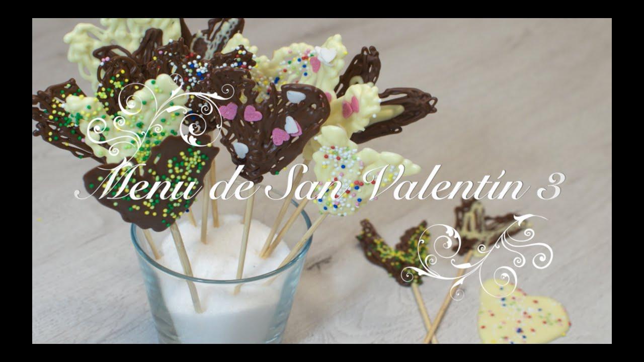 Menu San Valentín 3  | Piruletas de Chocolate | Postres para San Valentin Faciles |
