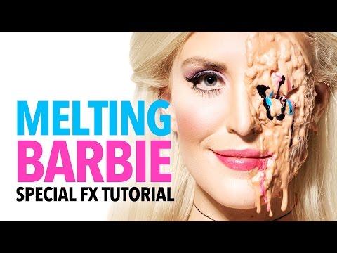 Melting Barbie halloween makeup tutorial