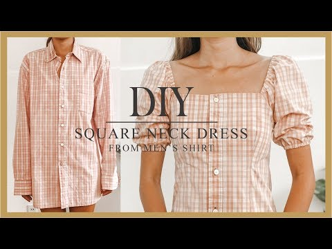 DIY Puff sleeve dress - Refashion Men's Shirt into puff sleeve dress - How to make Square neck dress