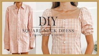 DIY Puff Sleeve Dress - Refashion Mens Shirt Into Puff Sleeve Dress - How To Make Square Neck Dress