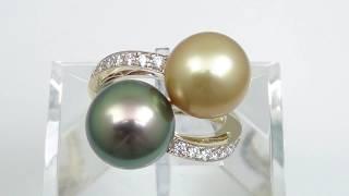 K1 8黒蝶パール・ゴールデンパール・ダイヤモンド リング