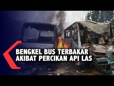 bengkel bus terbakar akibat percikan api las