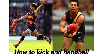 Tutorial On How To Handball And Kick a Footy/aussie rules football
